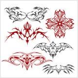 El tatuaje fijó en estilo tribal en el fondo blanco Imágenes de archivo libres de regalías