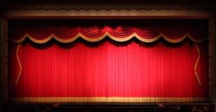 El teatro brillante de la etapa cubre el fondo con amarillo Foto de archivo libre de regalías