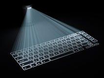 El teclado conceptual proyectó sobre la superficie aislada en negro Foto de archivo