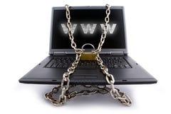 El teclado de la computadora portátil aseguró Imágenes de archivo libres de regalías