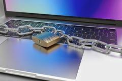 El teclado de ordenador se cerró con el candado y la cadena - seguridad ilustración del vector