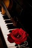 El teclado de piano y se levantó Fotografía de archivo libre de regalías