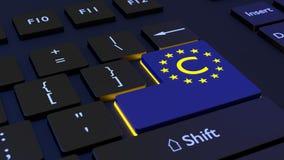 El teclado negro con un azul incorpora la llave que muestra un símbolo de los derechos reservados de la UE imagenes de archivo