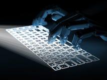 El teclado virtual conceptual proyectó sobre las manos de la superficie y del robot Fotografía de archivo