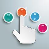 El tecleo empuja los botones manualmente 4 opciones Imagen de archivo libre de regalías