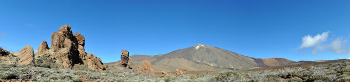 El Teide Panorama. Panorama of El Teide mountain on Tenerife, Spain Stock Photos