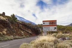 El teide road sign stock images