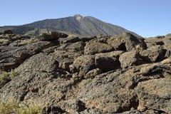 EL Teide, Tenerife Rochas no primeiro plano imagem de stock