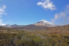 El Teide volcano, Montana Guajara and Montana Blanca, Tenerife, Canary Islands. El Teide volcano, Montana Guajara and Montana Blanca Tenerife, Canary Islands Royalty Free Stock Photos