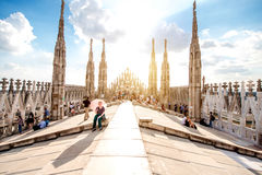 El tejado de la catedral del Duomo Fotos de archivo libres de regalías