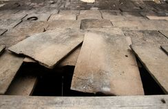 El tejado se derrumbó Fondos y texturas Imagen de archivo