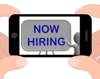 El teléfono ahora de alquiler significa a Job Vacancy And Employment Imágenes de archivo libres de regalías