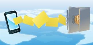 El teléfono celular seguro asegura la copia de seguridad de la transferencia Imagen de archivo libre de regalías