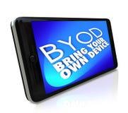El teléfono elegante BYOD trae su propia política Job Work del dispositivo stock de ilustración