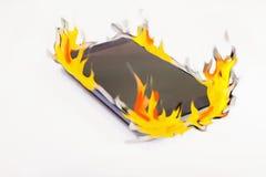 El teléfono elegante esté quemando Fotografía de archivo