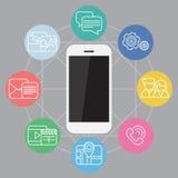 El teléfono móvil funciona ejemplo stock de ilustración