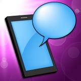 El teléfono móvil indica el Portable y la charla del teléfono Fotografía de archivo libre de regalías