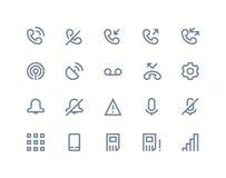 El teléfono registra iconos Línea serie Fotografía de archivo