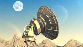 El telescopio de radio explora el cielo de la tarde ilustración del vector