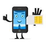 El teléfono del carácter sostiene la tarjeta de SIM Fotografía de archivo