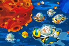 El tema de extranjeros - UFO - estrella - guardería - menú - pantalla - espacio para el humor feliz y divertido del texto - - ejem ilustración del vector