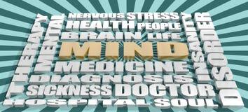El tema de la mente marca la nube con etiqueta Imagen de archivo