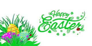 El tema de Pascua con los huevos en la hierba y las flores, poniendo letras a Pascua feliz, vector el ejemplo libre illustration