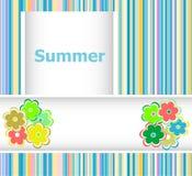 El tema del verano con el fondo multicolor brillante excesivo floral, verano florece, tarjeta del día de fiesta Foto de archivo libre de regalías