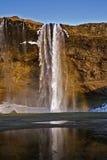 El temor y la majestad de la cascada de Seljalandsfoss, Islandia Imágenes de archivo libres de regalías