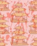 El templo chino del bosquejo, vector el modelo inconsútil Foto de archivo