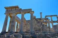El templo de Aphaia en Aegina, Grecia el 19 de junio de 2017 Imágenes de archivo libres de regalías