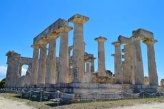 El templo de Aphaia en Aegina, Grecia el 19 de junio de 2017 Foto de archivo