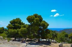 El templo de Aphaia en Aegina, Grecia el 19 de junio de 2017 Fotografía de archivo libre de regalías