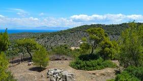El templo de Aphaia en Aegina, Grecia el 19 de junio de 2017 Fotografía de archivo