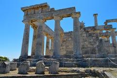 El templo de Aphaia en Aegina, Grecia el 19 de junio de 2017 Imagen de archivo