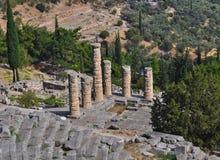 El templo de Apolo en Delphi imagen de archivo