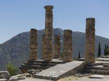 El templo de Apolo en Delphi, Grecia Fotos de archivo libres de regalías