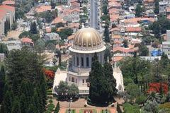 El templo de Bahai en la demostración de Haifa adentro hasta ve Foto de archivo