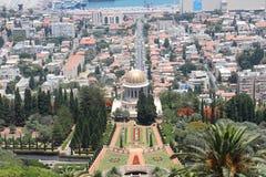 El templo de Bahai en la demostración de Haifa adentro hasta ve Foto de archivo libre de regalías