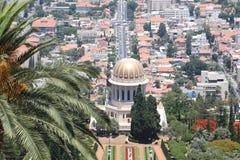 El templo de Bahai en la demostración de Haifa adentro hasta ve Fotografía de archivo libre de regalías