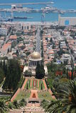 El templo de Bahai en la demostración de Haifa adentro hasta ve Fotografía de archivo
