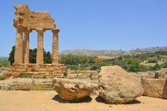 El templo de Dioscuri (echador y Pólux), Agrige Imagen de archivo