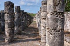 El Templo de los Guerreros y las Mil Columnas Royaltyfri Bild