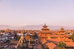 El templo de Patan, cuadrado de Patan Durbar se sitúa en el centro de Lalitpur, Nepal Es uno de los tres cuadrados de Durbar en foto de archivo