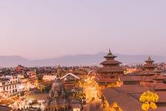 El templo de Patan, cuadrado de Patan Durbar se sitúa en el centro de Lalitpur, Nepal Es uno de los tres cuadrados de Durbar en fotos de archivo