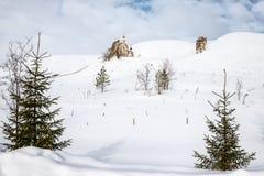 El templo del desierto nevoso fotografía de archivo