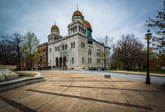 El templo del lugar de Eutaw, en la colina de Bolton, Baltimore, Maryland fotos de archivo