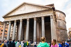 El templo del panteón de todos los dioses en Roma foto de archivo
