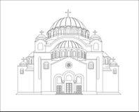 El templo del santo Sava Ilustración del vector Línea arte existencias Fotografía de archivo