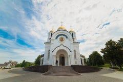 El templo en honor de San Jorge el victorioso en Samara de la ciudad imagen de archivo